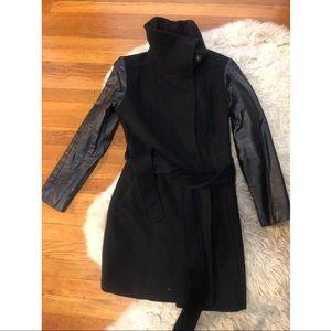 H&M winter black pea coat belted 8 leather jacket